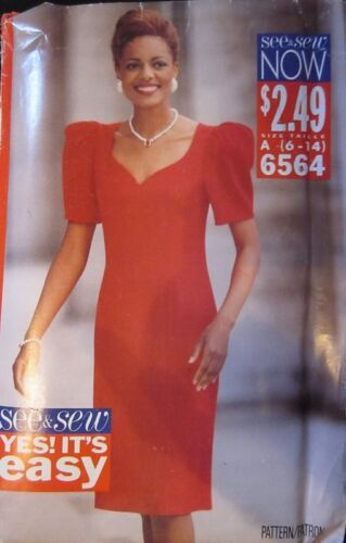 Vintage Butterick SEWING Pattern 6564 Misses Feminine Dress 6-24 UNCUT OOP SEW