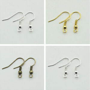 Wholesale 200pcs Silver//Gold Plated Earring Hooks Jewelry Findings 17mm Antique