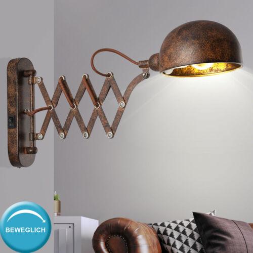 Wand Spot Leuchte gold Ziehharmonika Lese Lampe rost Büro Strahler verstellbar