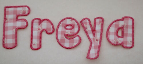 Fabric Alphabet Sew on// Iron on Letters Appliqué 3.75in 9.5cm Pink Blue Red