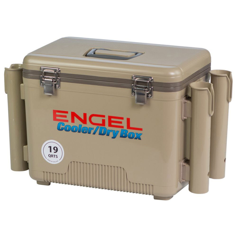 Engel 19 Quart Fishing Rod Holder Attachment Insulated Dry Box Ice Cooler, Tan