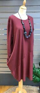 Blasenpflaster 2 Pocket einfache Tulip/Fallschirm Cocoon Kleid Saum Kleid UK 10-20 * Wein