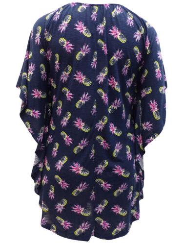 Blue Pineapple Print Batwing Sleeve Scoop Neck Top Size 20 22 24 26 28 30 32