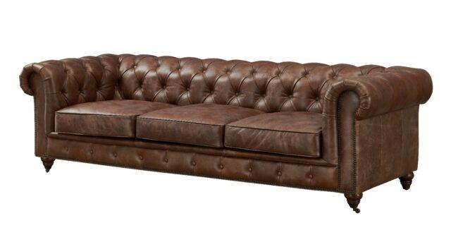 Brown Top Grain Leather Sofa Set