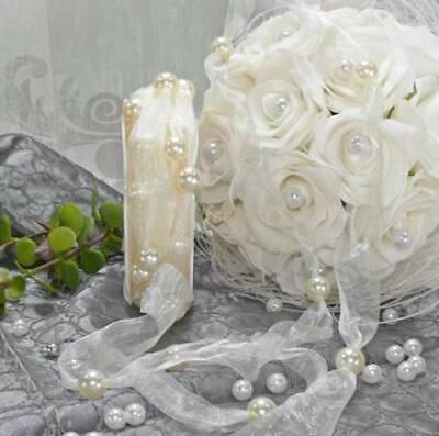 0,65 €//m Perlen 10mm Hochzeit Kopfschmuck weiß Schleifenband m 12m Perlenband