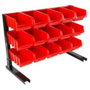 Garage Storage 30 Bins Stackable Free Standing 2-sided Small Parts Organizer Bin