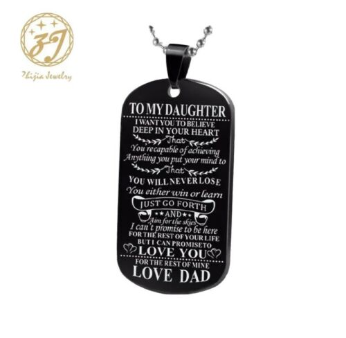To My Daughter Love Dad Dog Tag Pendant Necklace Black