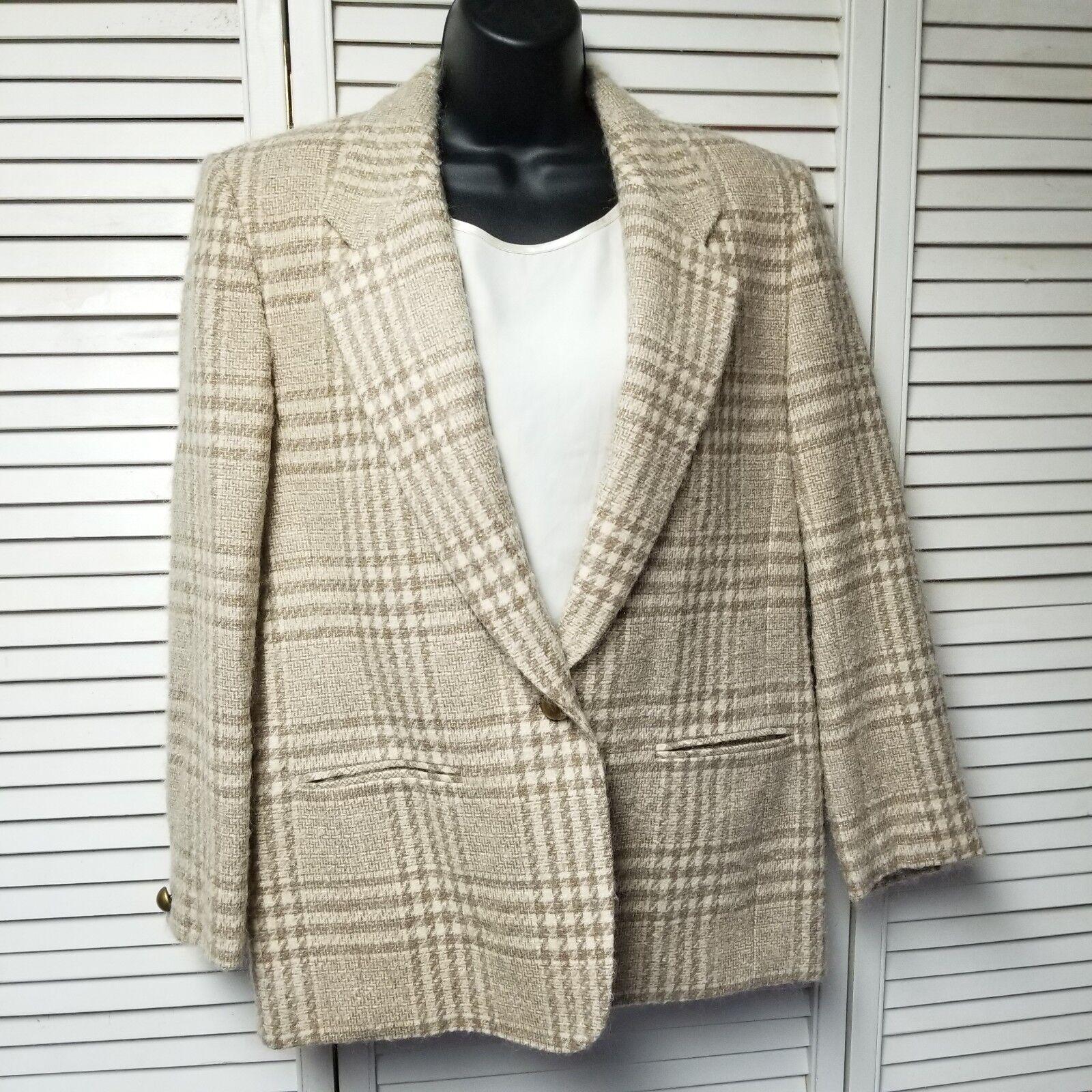 Beige Plaid 100% Virgin Wool PENDLETON Blazer Women's Size 12 Petite One Button