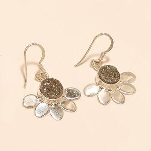 Russian-White-Titanium-druzy-Earrings-925-sterling-Silver-Handmade-Fine-Jewelry