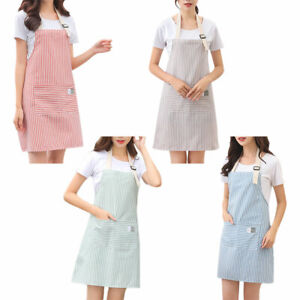 Women-Small-Fresh-Stripe-Kitchen-Anti-foul-Apron-Pinafore-Cooking-Accessories