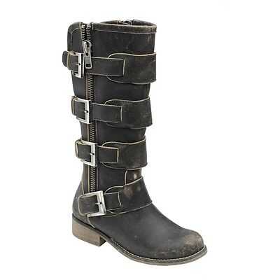 Corral Ladies Distressed Black Straps and Zipper P5079
