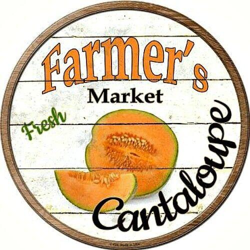 "Farmers Market Cantaloupe 12/"" Round Metal Kitchen Sign Novelty Retro Home Decor"