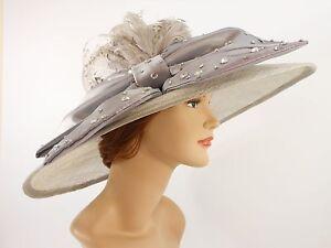 New Church Kentucky Derby Sinamay Wide Brim Dress Hat 2470 Gray