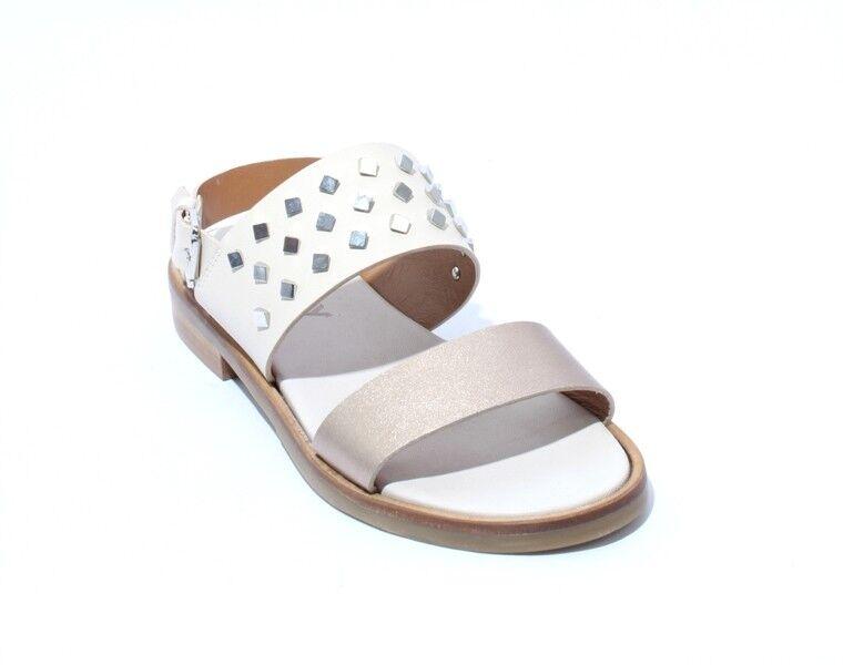 Mally 6142a Cream Bronze Leather Studded Slingbacks Sandals 37   US 7