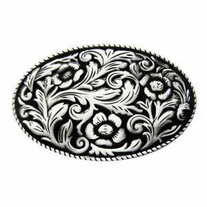 Silber Western Gürtelschnalle Cowboy Cowgirl Blumen Muster für Gürtel