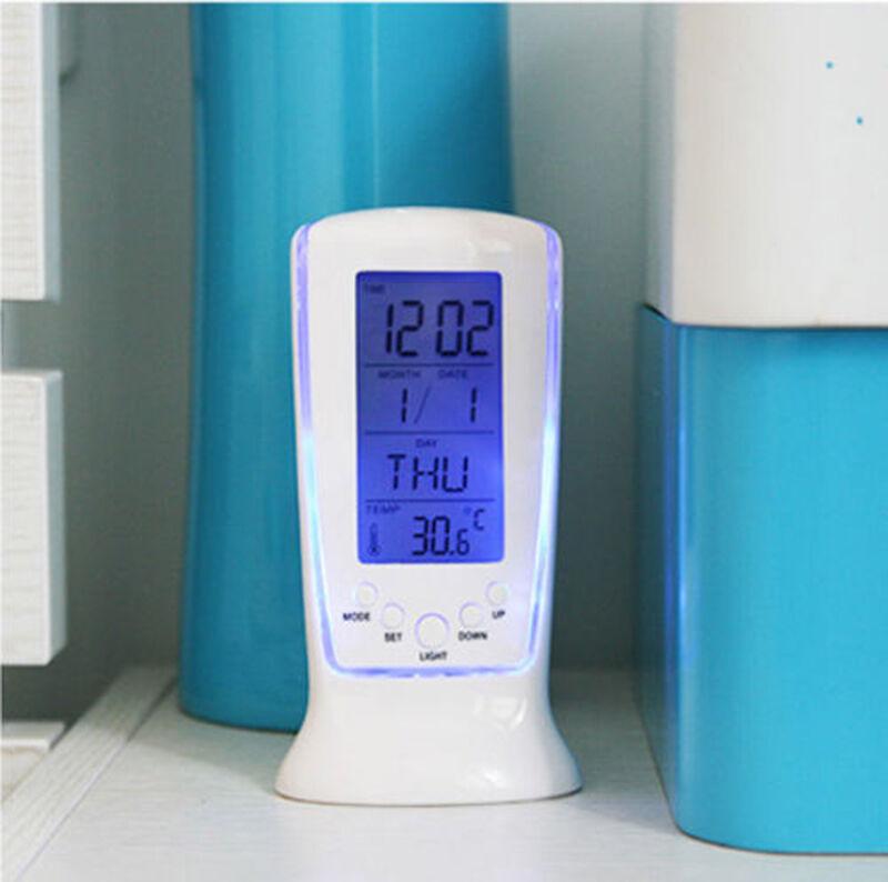 1pc Digital Backlight LED Display Table Alarm Clock Snooze Thermometer Calendar 2