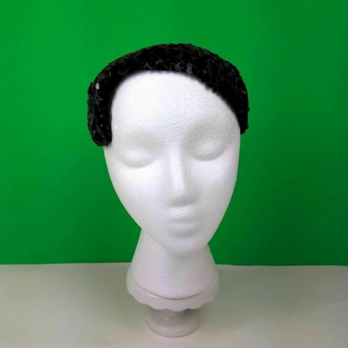 Vintage 60s Millinery Sequin Cocktail Headband Hat