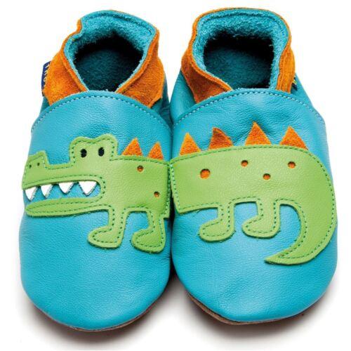 Orange Inch Blue Boys Luxury Leather Soft Sole Baby Shoes  Crocodile Turquoise