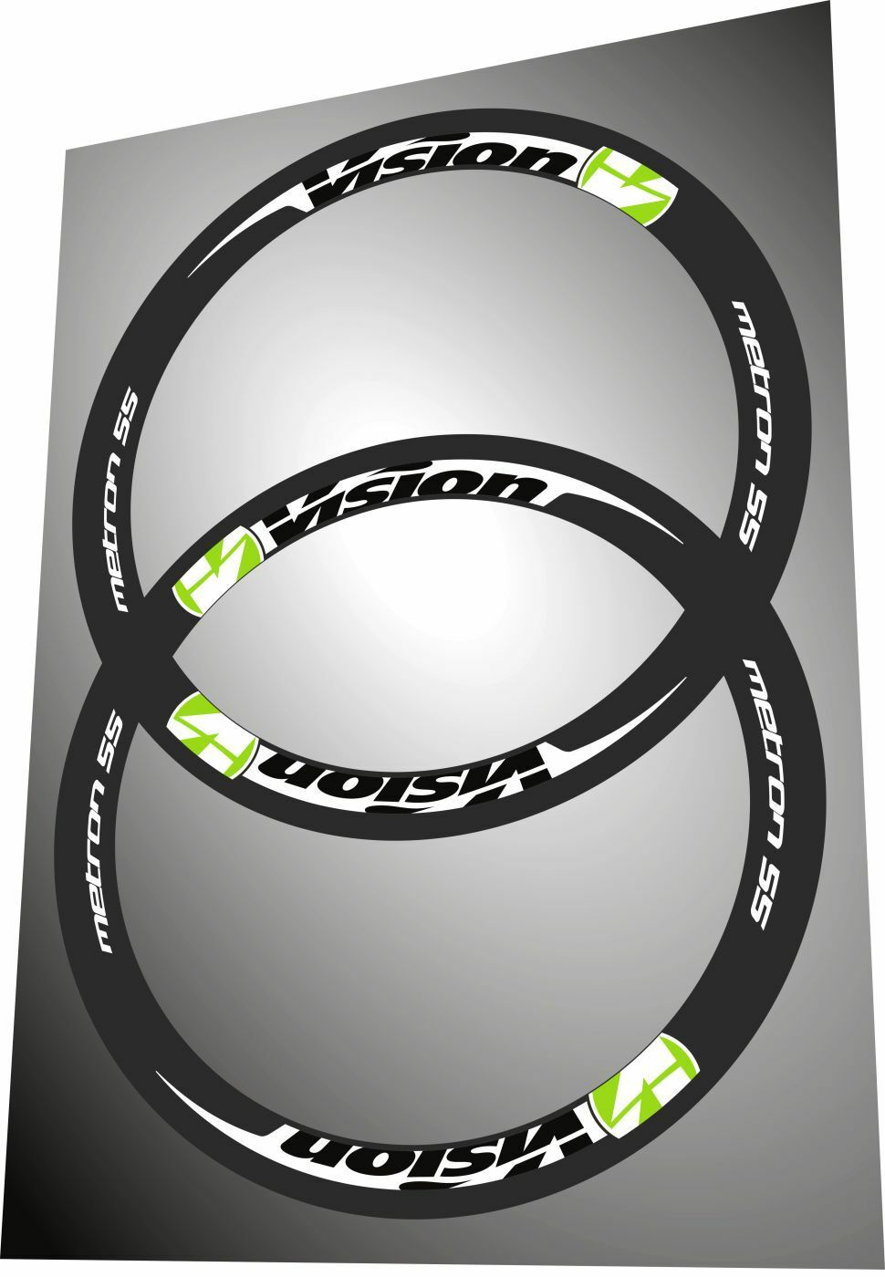 VISION METRON 55 LIME GREEN & WHITE COLOR REPLACEMENT  RIM DECAL SET FOR TWO RIMS  the lowest price