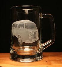 VW Volkswagen camper van type 2 engraved glass pint tankard gift present