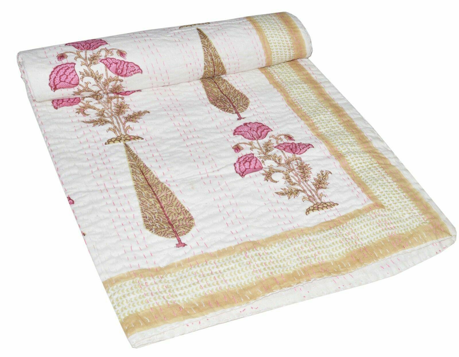 Indian Handmade Quilt Vintage Kantha Bedspread Throw Cotton Blanket Gudri Twin