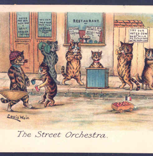 "FAULKNER.. WAIN""THE STREET ORCHESTRA"" MUSICAL CATS PLAY FOR MONEY,POSTCARD"