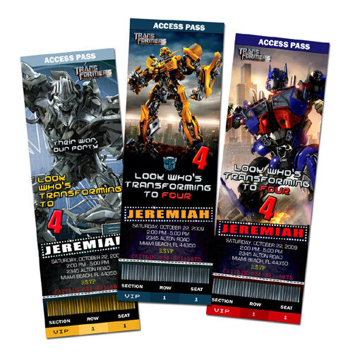 Transformers Birthday Party Invitation Ticket Cards 1st C3 1 2 3 Custom Invite For Sale Online