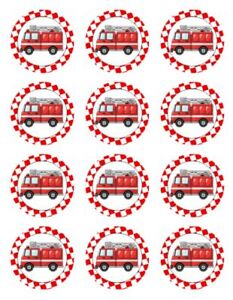 FIRE TRUCK EDIBLE CAKE TOPPER BIRTHDAY DECORATIONS