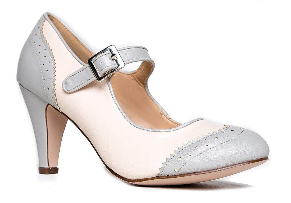 J. Adams Pumps Mary Jane Oxford Pumps Adams - Cute Niedrig Kitten Heels - Retro Round Toe... 139672