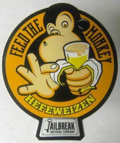 FEED THE MONKEY HEFEWEIZEN 3 X 3 1//2/'/' STICKER Label Jailbreak Brewing MARYLAND