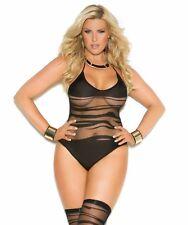 Women Plus Bodysuit Teddy Lingerie Set Black Sheer Wave Crotchless Stocking Sexy