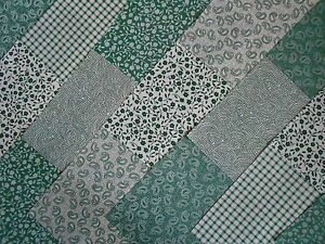 Fabric-Charm-Pack-5-Patchwork-Squares-100-Cotton-Craft-Sage-Green-Paisley
