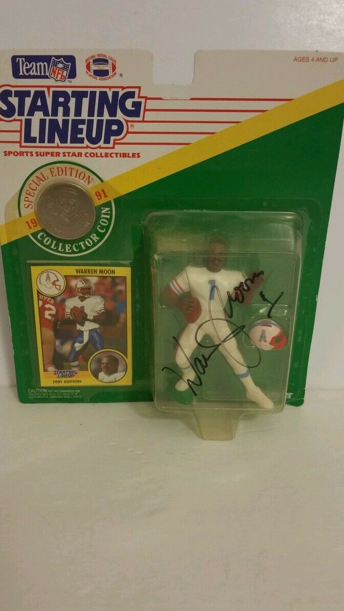 SIGNED TEAM NFL STARTING LINE UP WARREN MOON(007)