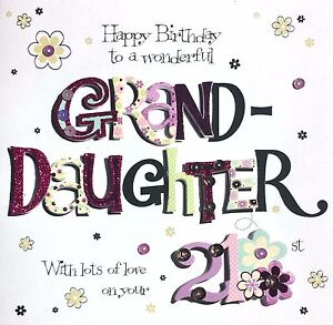 Image Is Loading Happy Birthday Granddaughter With Love On Your 21st