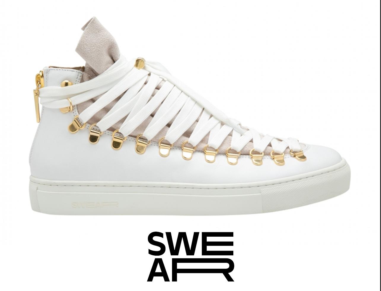 Barney's Swear Men Women Redchurch Laced White Gold High-Top Sneakers 41 IT