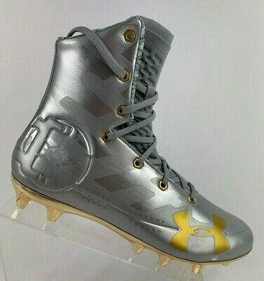 New Mens Under Armour Highlight MC LE Football Cleats Silver Gold 3000338-100