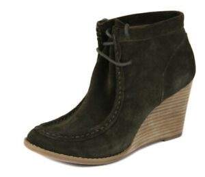 36c8bfa7b76 Details about Lucky Brand Women s Moss Green Ysabel Lace Up Wedge Bootie  Shoes Ret  129 New