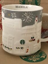 NEW Starbucks 2016 MANILA Christmas Silver relief 18 oz mug NEW!