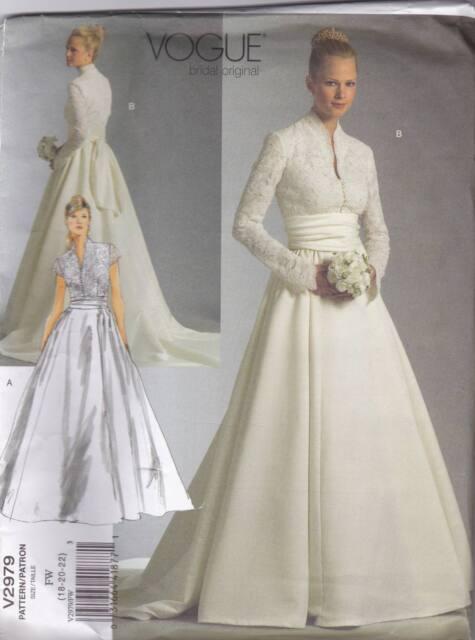 Uncut V2979 Vogue Wedding Dress Sewing Pattern Sizes 18 20 22 Ebay