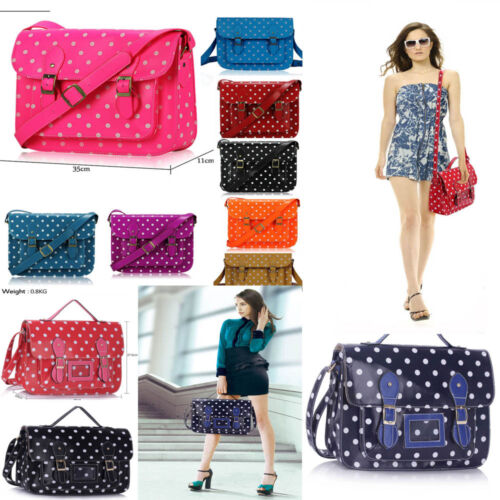 Ladies Girl/'s Women/'s Fashion Chic Polka Dot Spotty Dotty Satchel Bag School A4