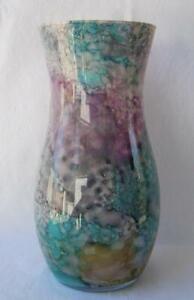 Italian Art Glass Vase Franco Italy Lavender Purple Yellow 448