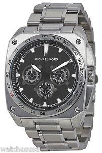 55263334da35 Image is loading Michael-Kors-MK8391-Grandstand-Black-Dial-Stainless- Chronograph-
