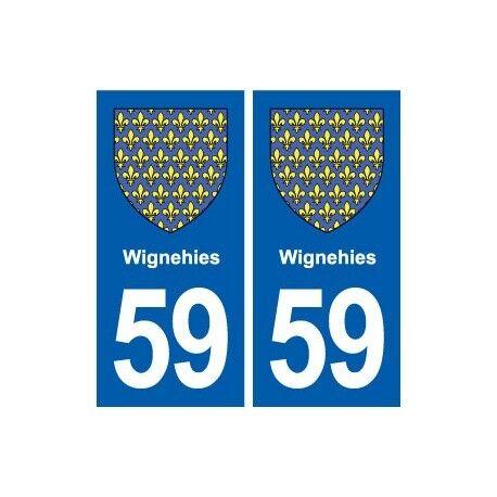 59 Wignehies blason autocollant plaque stickers ville -  Angles : droits