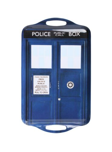 DW01655 Doctor Who Tardis Tray Time Machine BBC Police Call Box Tea Serving
