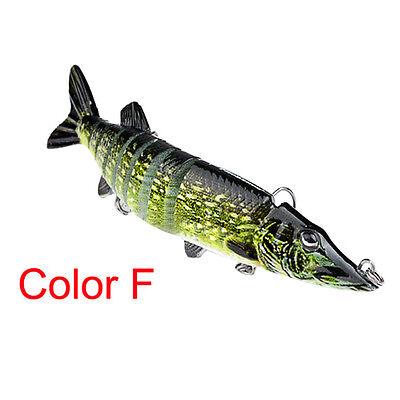 "5"" Multi-jointed 9-segement Pike Muskie Plastic Fishing Lure Hard Bait PopularBL"