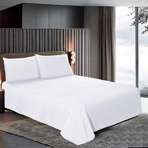 Egyptian Cotton White Flat Sheets Bed Sheet Single Double King Super King Size