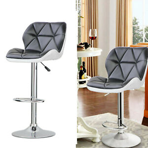 Details about Bar Stools Swivel Kitchen Breakfast Chair Adjustable Height  Black Faux Leather