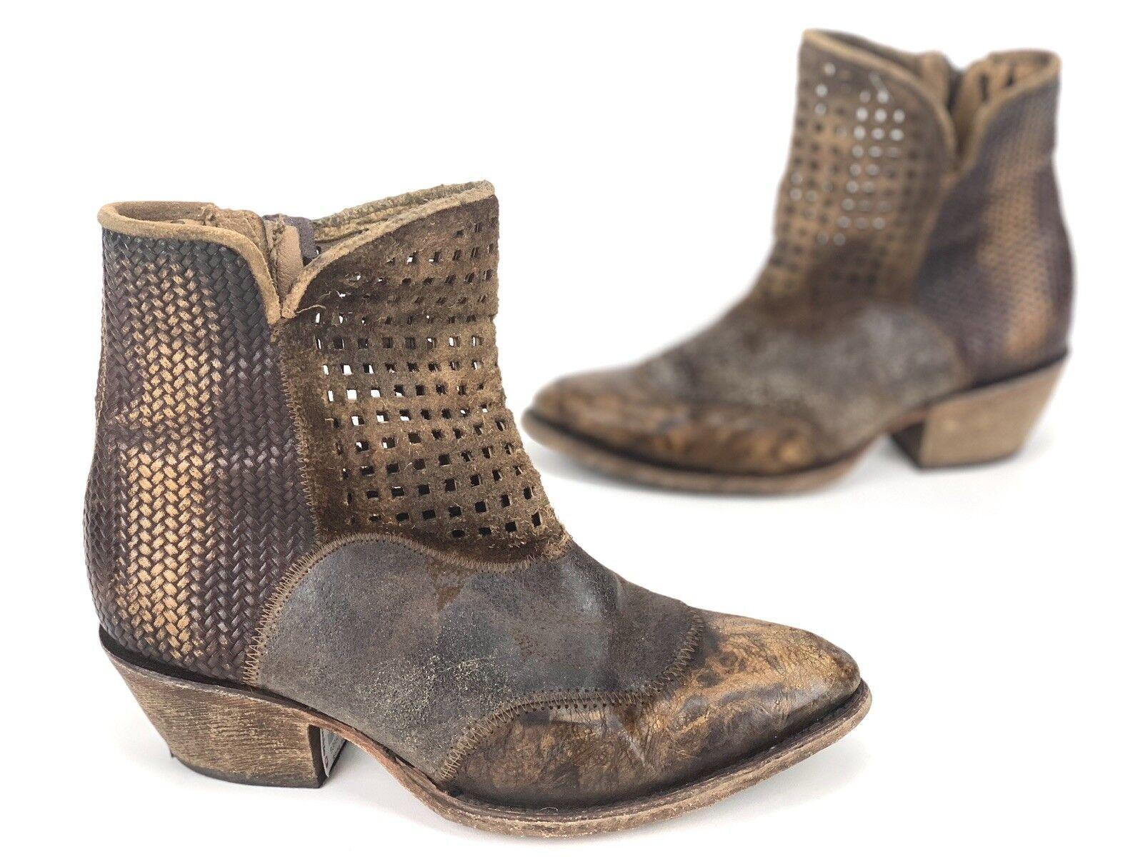 Corral Vintage Mujeres botas con aspecto envejecido país occidental Marrón Oscuro  2 M
