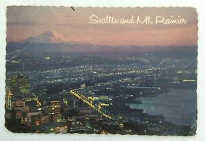 4-x-6-034-Chrome-postcard-vintage-aerial-view-of-Seattle-Washington-1977