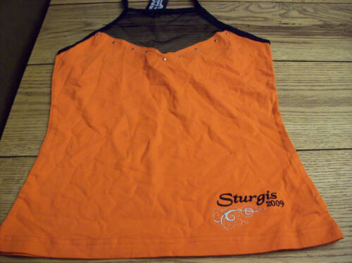 Sturgis Motorcycle Rally 2009 Orange  Halter Tank Top Ties At Neck